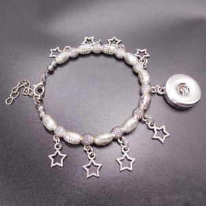 Mode versilbert runde perlen snap armband frauen diy snap schmuck für 18mm druckknöpfen charme armbänder