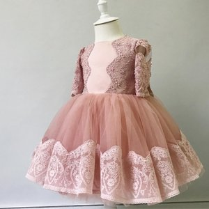 2020 Blush Pink Lace бисером цветок девочки платья длины чая Маленькая девочка Свадебные платья дешевые Детский Pageant День рождения платья FL07