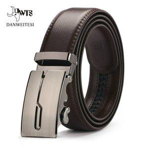 Top Quality Cintos Genuine cintos de couro de couro Sliding Cintos Buckle Ratchet Belt Buckles automática na moda Negócios Belt Casual