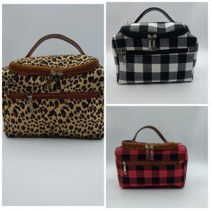 Сумки для путешествий Косметическая сумка с застежкой-молнией Buffalo Plaid животных Leopard Печать женщин хранения Рождественский подарок сумка Самые новые модные 28cw E1