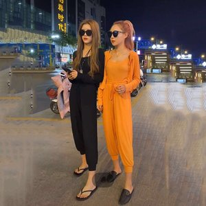 2020 New Summer Women Fashion Set Female Sex Camisole + Close Fitting Solid Jackets + High Waist Pants Three Pieces Suits Z130
