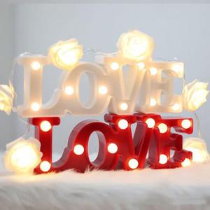 ЛЮБОВЬ Shaped светодиодные Night Light Romantic Настенные светильники Свадеб украшения теплый белый Настольная лампа Спальня Светодиодные игрушки Night Light