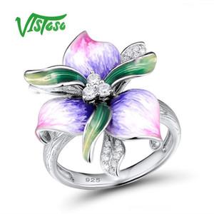 Kadınlar Doğal Taş Emaye Güzel Takı D1892005 için Vistoso 925 Gümüş Yüzük