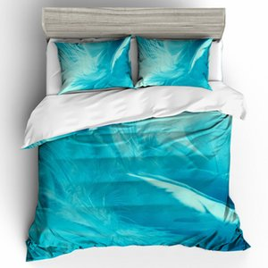3d feather Bedding set queen size blue design Print duvet Cover set with pillowcase Quilt Cover bedline