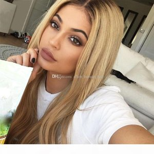 Full Lace Human Hair Wigs Ombre T1B 27 Silky Straight Brazilian Virgin Hair 150 Density Natural Hairline Bleached Knots Lace Front Wigs