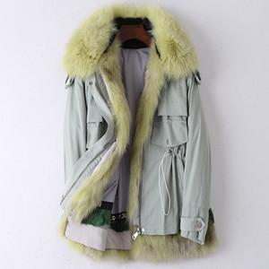 Sonbahar Kış Düzenli Kürk İç Kazan Parka Kadınlar Kürk Yaka Kapşonlu Coat Yüksek Kalite Sıcak Kalın Ordu Ceketler
