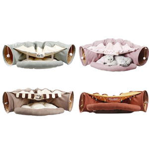 Pasta removible plegable Cat Tunnel Tube PET PET Interactive Play Toys Sound Paper Anillo Campana para Cat Hurets Puppy Pet Pet Bed