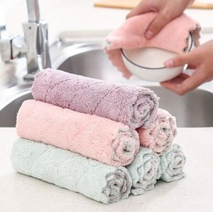 Non-shedding absorbent cloth thickened with microfiber cleaning cloth kitchen household cleaning cloth non-greasy dishcloth