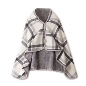 New fashion tartan plaid poncho scarves with hat and button women check cashmere blanket scarf lady winter warm cape shawl wraps