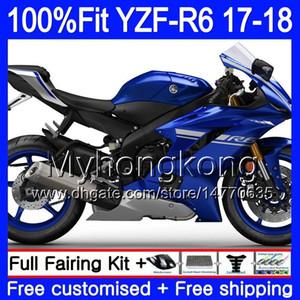 Einspritzkörper für YAMAHA YZF600 YZF R6 YZFR6 2017 2018 248HM.0 YZF 600 YZF R 6 YZF-600 YZF-R6 17 18 Verkleidungsteile + 7Gifts Hot Factory blau