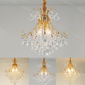 Lampadari in cristallo moderno K9 Golden Iron Braccio 3 Testa E14 Piccolo / Medio / Big Home Illuminazione per la casa Sospensione Droplight Living Dhl