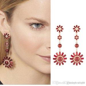 앙리는 붉은 진주와 다이아몬드 꽃 여자 보석 선물 무료 배송 PS5698와 8cm 길이 귀걸이 훅 벤델 Nlm99 최고 품질의 황동