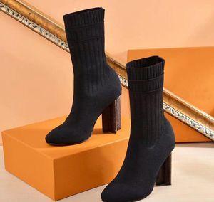 Venda quente- sapatos de mulher no outono e inverno Botas elásticas de malha DesignerL Botas curtas meias botas Tamanho grande 35-42 Sapatos de salto alto