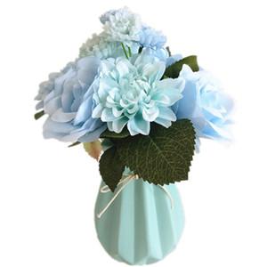 6 Renk Yapay Gül Çiçekler Düğün El Çiçekleri için Dahlias Buket 6 Kafaları Karanfiller Sahte Çiçekler Ev Dekor Ipek Ucuz Çiçek