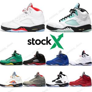 Air Jordan 5 Island Green PSG Siyah erkekler Basketbol Ayakkabı PARİS Laney OG spor Sneakers mens 5s Yüksek kaliteli Jumpman 5 Ada Yeşil Inspire Saten Taze kanatları Bred