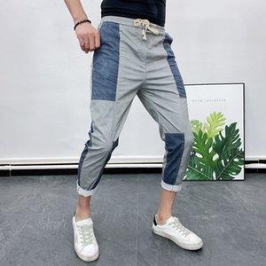 Men's Pants Patchwork Casual Stitching Trend Social Summer Joggers Hosen Herren Pantalon Homme Streetwear Hip Hop