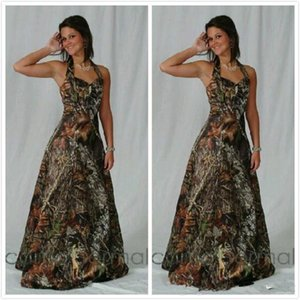 Vintage Realtree Camo Bridesmaid Dresses 2020 Modest Halter Stain backless Outdoor Beach Country Camo Maid of Honor Wedding Party Dress