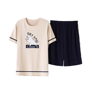 Summer Pijama Cotton Pajamas Set For Men Pyjamas Sleepwear Boy Short Sleeved Household Suit Clothing Set 2019