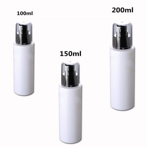 3ps lot 100ml High Quality Round White PET Plastic Lotion Bottle With Treatment Pump For Hair Oil Refillable Bottles