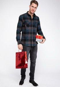 DeFacto Man Классический красный черный плед с длинным рукавом рубашки мужские рубашки Сетка Хлопок Mixed Color Top Рубашки Мужской Top Ткань-J0599AZ18WN