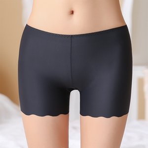 YaAjh Women's Flat angle without curling bottom safety short Shorts and shorts pants anti-light insurance with non-trace Ice Silk three-poin
