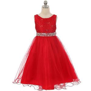 Kırmızı Biçimsel Kız Elbise İçin Akşam Balo Parti Kostüm Kristal Bebek Kız Çocuk Giyim Prenses Düğün Küçük Elbise