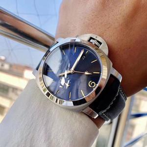 2020 de lujo del movimiento automático de los 44MM hombres del reloj del dial azul de cristal de la banda de piel Montre Homme