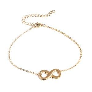 Бесконечный символ из нержавеющей стали браслет для женщин Простое регулируемое золотое серебро цвет номер 8 сетевой браслет цепной браслет