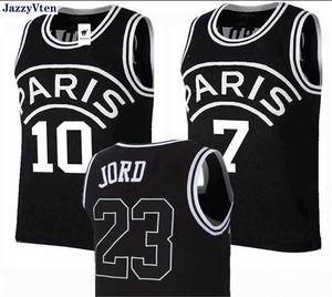 Nakış Paris Forması 23 Michael JD 10 NEYMAY JR 7 MBAPPE 5 # marquinhos 9 # Cavani Paris Basketbol Formaları spor Siyah Damla Nakliye