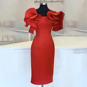 Women Red Bodycon Dresses Ruffles Stylish Party Event Midi Dress Elegant Slim Vestido African Date Out Celebrate Occasion Robes
