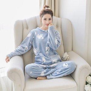 de las mujeres de la franela lindo de dos piezas pijama 2018 Otoño Mujer suave camisones de algodón señoras de Kawaii historieta de la impresión Trajes de pijama