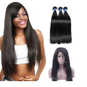 8о 360 Фронтальных пачек волос Бразильского Девы волос Pre щипкового Straight ткут волосы 360 Кружево Фронтальных пачки 360 Lace Fronta