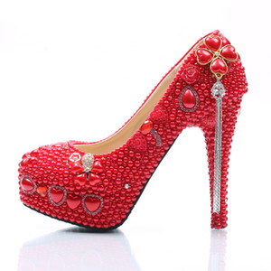 Красный жемчуг горный хрусталь свадьба каблуки женщины насосы 14 см высокие каблуки сандалии шпильках платье обувь платформы кожаные туфли плюс размер пользовательских 35-45