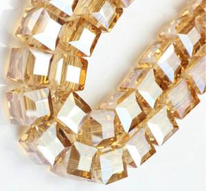 Venta al por mayor 100 UNIDS GOLD CHAMPANE CUBE SQUARE Crystal AB CRISTAL Espaciador suelto BEADS DIY JOYERÍA QUE HACE 4 MM 6 MM 8 MM 10 MM