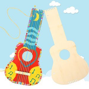 Wood Guitar Painting Sketchpad DIY Graffiti Colorful Drawing Education Kids Toys