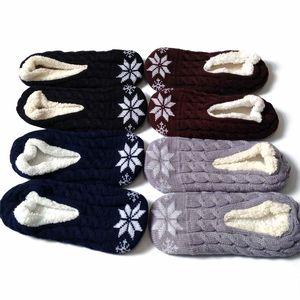 Man Plüsch Haus Schuh Flush Snowflake Indoor Bodensockenstricken Winter-Fußwärmer weiche Unterseite Slipper Schuhe