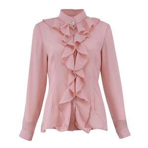Женщины моды блузка рубашки женщина с длинным рукавом шифон Blusas Chic Elegant Lady Свободные топы шифон Женские рубашки