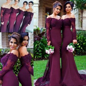 2020 Grape Mermaid Bridesmaid Dresses Long Sleeve Lace Appliques Off Shoulder Maid of Honor Gowns Custom Made Formal Dress