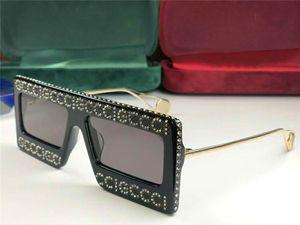 donne nuovi occhiali da sole di design 0431 bling bling telaio lucido stile moda occhiali a gabbia design quadrato con lente caso UV400