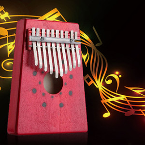 Hot Promotions Red 10Keys Kalimba Thumb Piano Traditional Musical Instrument Portable Great Gift Drop Shipping
