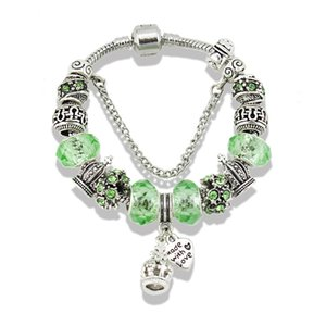 2019 NEW Charm Bracelets 925 Silver plated for pandora bracelet For Women Crown Blue Glass Crystal Beads and heat DIY Jewelry