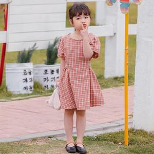 2020 vestiti delle ragazze di estate si vestono Dress Puff Short Sleeve O-collo Arcobaleno Mesh Ragazza elegante dei vestiti del vestito