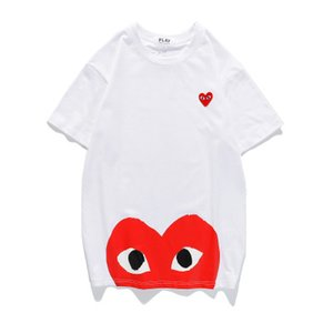Red Eyes Mens diseñadores camisetas Blanco Nuevo Unisex CDGplay Casual Algodón Corazón Homme Four Bird Red Four Heart tee Camisetas de manga corta