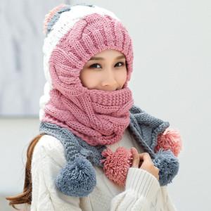 HT2639 Automne Hiver Chapeau Foulard chaud épais d'hiver Set Mode Pompons Bonnet et écharpe Femmes Accessoires Ensembles