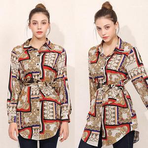 Neck Panelled T-Shirts Unregelmäßige Designer Shirt der Frauen Frühling Herbst druckte Blusen Revers
