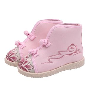 Kids Girls Shoes Handmade Cloth Boots Embroidery Casual Short Boots Winter Classic Folk-custom Style Cow Muscle Sole