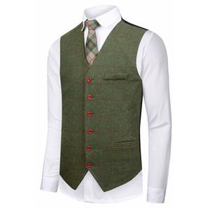2019 Bristish Green Wedding Groom 조끼 모직 조끼 조끼 신랑 조끼 Mens Suit 조끼 Prom 웨딩 코트 Waistcoat Plus Size