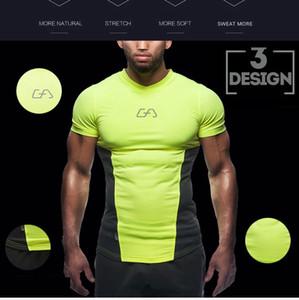 htsportsstore Uomini compressione camicia stretta della pelle MMA maniche corte Rashguard Base Fitness strato di sollevamento pesi Camicie Uomo Wear Maglie Sport
