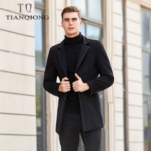 TIAN QIONG Brand 2019 New Men Slim Long Section Woollen Trench Coat Moda Casual Business Color sólido Chaqueta rompevientos Hombre