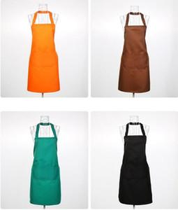 멀티 컬러 패션 앞치마 단색 큰 포켓 가족 요리 홈 베이킹 턱받이 아트 앞치마